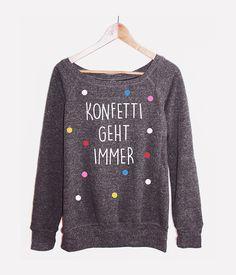 Sweater mit Konfetti, Typo / print sweater, confetti made by KitschundKrempel via DaWanda.com