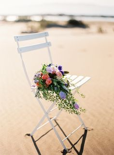 Santos Costura Wedding Dresses For A Beach Sunset Inspiration Shoot With Images Shot on Digital and Film by Padilla & Rigau Rainbow Wedding Decorations, Table Decorations, Asos Wedding, Floral Chair, Event Planning Tips, Wedding Bouquets, Wedding Dresses, Event Organization, Event Decor