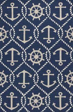 Navy Blue Rope and Anchor Marina Area Rug