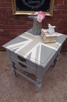 How to Make a Table Taller, Brush Strokes, and a Union Jack End Table ...
