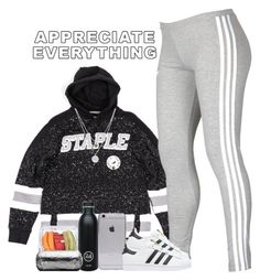 """appreciate everything."" by tonaysia ❤ liked on Polyvore featuring adidas, adidas Originals, 24 Bottles and Kenneth Cole"