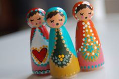 matryoshka painted peg dolls