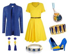 """""""Pretty in Blue and Yellow"""" by monika-przymuszala ❤ liked on Polyvore featuring ESCADA, Yumi and EAST"""