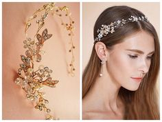 Nature inspired hair vine, Rose gold or silver floral bridal headband,  Art deco rhinestone crystal pearl tiara, Wedding flower headband