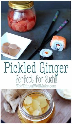 homemade pickled ginger is the perfect companion to any sushi dish you can dream up! Free of additives, preservatives, and colorings in store bought pickled ginger, this version is much healthier and tastier! Sushi Dishes, Sushi Food, Vegan Sushi, Sushi Ginger, Low Acid Recipes, Homemade Sushi, Sushi Recipes, Canning Recipes, Food Inspiration