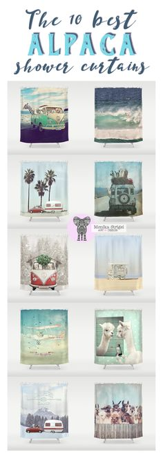 This is everything you need ... look at these funny dudes! Adventures and fun at the beach ! Original artwork by Monika Strigel $68 ... also on many other home goods!  #alpaca #lama #llama #alpacashowercurtain #showercurtain #bathroom #funny #cute #alpacaart #lamaart #llamaart #lamaposter