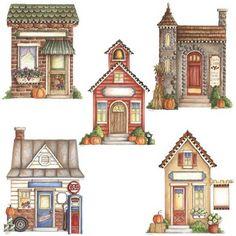 2 Clipart, Cute Clipart, Arte Country, Decoupage, Image 3d, House Quilts, Putz Houses, House Drawing, 3d Prints