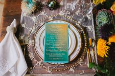 teal paper goods - photo by Veronica Varos Photography http://ruffledblog.com/edgy-bohemian-wedding-inspiration