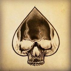 Skull Ace of Spades Tattoo by Junkiz_art Evil Skull Tattoo, Skull Tattoos, Body Art Tattoos, Tribal Tattoos, Sleeve Tattoos, Card Tattoo Designs, Skull Tattoo Design, Tattoo Sketches, Tattoo Drawings