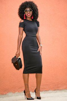 Style Pantry | Cold Shoulder Midi Dress