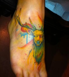 watercolor deer tattoo