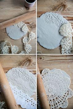 Imprinted Lace on clay bowls creates a beautiful jewellery holder! Clay Christmas Decorations, Christmas Crafts, Polymer Clay Crafts, Diy Clay, Doily Art, Cerámica Ideas, Pottery Handbuilding, Arts And Crafts, Diy Crafts