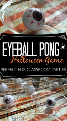 Check out this Eyeball Pong Halloween Game for Kids! It's great for classroom parties, large groups of kids, as well as an easy minute-to-win-it game! games games at work Eyeball Pong Halloween Game for Kids Halloween Tags, Halloween Designs, Halloween Carnival Games, Classroom Halloween Party, Halloween Dance, Halloween Activities For Kids, Halloween Birthday, Haloween Games, Halloween Crafts