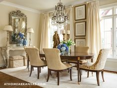 "A variety of textured fabrics add interest in the home's formal dining room. The palette of what designer Debi Davis refers to as ""vanilla, caramel, and toffee,"" ties the elements together, while still giving a monochromatic look."