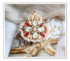 Crown // Regalia Collection Vintage Inspired Hand Embroidered Brooch, $235.00