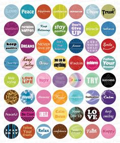 FREE PRINTABLES Inspirational Words - 1 Inch Circles - Full