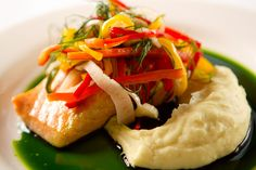 Roasted Salmon, Parsnip Puree, Pepperod Fennel Salad, Basil Oil by D'Amico Catering, via Flickr