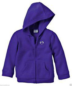 Jumping Beans Toddler Girl's Purple Fleece Zip-Up Hoodie Jacket w/Heart-Sz 18mo - $12.49 - Re-list April 23, 2014 - #FreeShipping