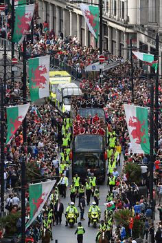 #EURO2016 The Wales Football squad head down St Mary's street on their bus parade around Cardiff on their EURO 2016 homecoming tour on July 8 2016 in Cardiff...