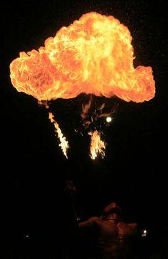 Flame throwers on the beach in Perhentian Island, Terengganu..