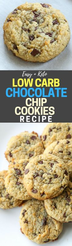 Easy low carb chocolate chip cookies recipe! This is THE BEST keto chocolate chip cookies recipe you'll ever try. Each cookie ONLY has 1 net carb. Also, these chocolate chip cookies are flourless, and sugar free, but still totally soft and chewy!