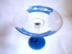 Art Deco Blue Stemmed Compote