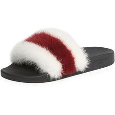 Givenchy Striped Mink Fur Slide Sandal (6100 MAD) ❤ liked on Polyvore featuring shoes, sandals, shoes sandals, givenchy sandals, flat pumps, flat heel shoes, slide sandals and flat pump shoes