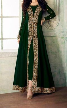 Dark bottle Green Anarkali zari Embroidery kameez custom made dress ethnic unstitched suit material