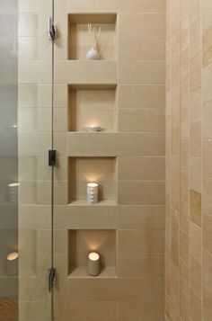 Shower niches - coordinate their placement with the tiling pattern & have the wall framed to accept the niche.