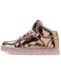 Skechers Girls' S Lights: Energy Lights Light-Up High-Top Casual Sneakers from Finish Line - Gold 5.5