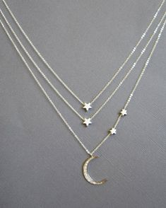 Mother and two children Crescent Moon Necklace Double by Muse411