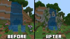 Nice custom waterfall in mcpe Casa Medieval Minecraft, Minecraft Farm, Minecraft Garden, Minecraft Castle, Minecraft Plans, Minecraft Construction, Minecraft Tutorial, Minecraft Blueprints, Cool Minecraft Houses
