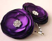 Purple Wedding Flower Hair Clip - Bridal Hair Accessory - Handmade. $15.00, via Etsy.
