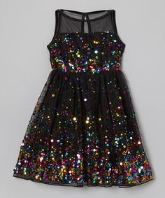 Shining with a party of glistening sequins, this dress will make any glam gal look utterly divine. A keyhole in back lets it slip on in a snap while a swinging skirt leaves room for darlings to dance the day away.100% polyesterHand washImported