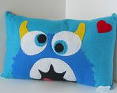 Pillow Pal Appliqued Felt MONSTER- HUNGRY turquoise blue Rainbow
