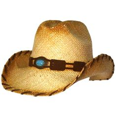 3a63e6c9e0158 Cowboy Hat With Brown Trim   Turquoise Medallion Hatband ( 21) ❤ liked on  Polyvore