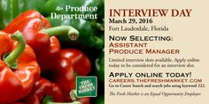 TFM has Assistant Produce Manager Job Openings in Fort Lauderdale, FL hiring now.  Interview Day Tuesday, March 29, 2016 in Fort Lauderdale, FL  http://grocerystorejobmarket.com