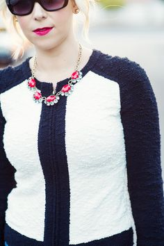J.Crew sweater and Stella and Dot red necklace-Kacee from Life with Lipstick On