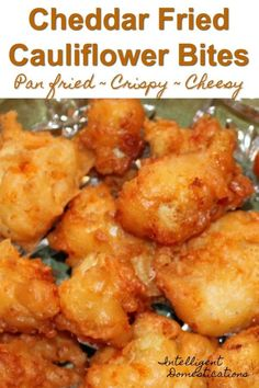 Cheddar Fried Cauliflower Bites Easy recipe for pan fried cheesy cauliflower bites. A delicious alternative to boring cauliflower. What Is Cauliflower, Cheesy Cauliflower, Cauliflower Bites, Cauliflower Recipes Fried, Buffalo Cauliflower, Gourmet Recipes, Appetizer Recipes, Dinner Recipes, Cooking Recipes