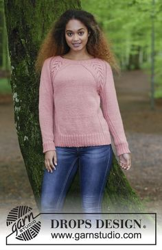 Knitted jumper with raglan, lace pattern, cables, and A-shape, knitted top down. Size: S - XXXL Piece is knitted in DROPS Flora. Free pattern by DROPS Design.