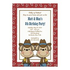 TWINS Twin Boys Western Cowboy Monkey 5x7 Birthday Invitation