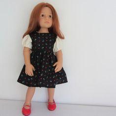 Habit de poupée : robe noire, manches ballons pour poupées happy kidz götz