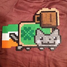 St.Patrick's Day Nyan Cat perler beads by _theperlerbeadmakers_