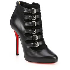 Christian Louboutin Attroupa Leather Buckled Ankle Boots Fall 2014 #CL #Louboutins #Booties
