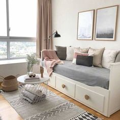 WEBSTA @ photosbyir - Good morning sunny summer day ☀️ Wish you a wonderful day 🌸♡. Guest Bedroom Office, Room Ideas Bedroom, Small Room Bedroom, Spare Room, Diy Room Decor, Bedroom Decor, Home Decor, Bedroom Storage, Guest Room