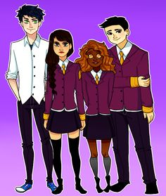 """Percy, Reyna, Hazel, and Frank~ I love how in the Camp Half Blood pic, Jason's seems to be more dressed up than the others, and then in the Camp Jupiter picture Percy's all """"Woops were we suposed to dress up? Oh well."""""""