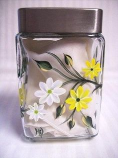 Daisies painted on glass vases or mirrors