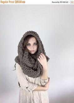 AUTUMN SALE Infinity Scarf Crochet Textured Huge by crochetgallery