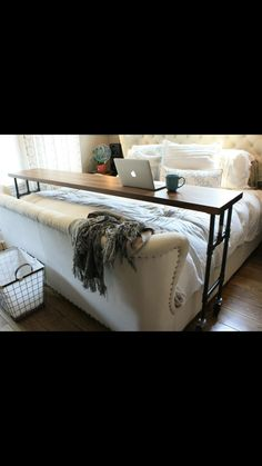 Dreamy bed (Restoration Hardware) and rolling bed desk (Yellow Door Supply Co)