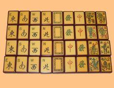 Vintage Mah Jongg tiles: Winds, Dragons, Flowers/People